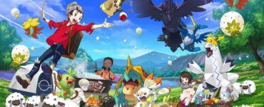 Promotion artwork for Pokemon Sword and Shield depicting numerous new Pokemon in a green field