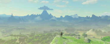 A screenshot from Breath of the Wild showing the rolling green fields of Hyrule