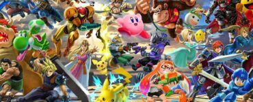 A promotional image of Super Smash Bros Ultimate characters battling
