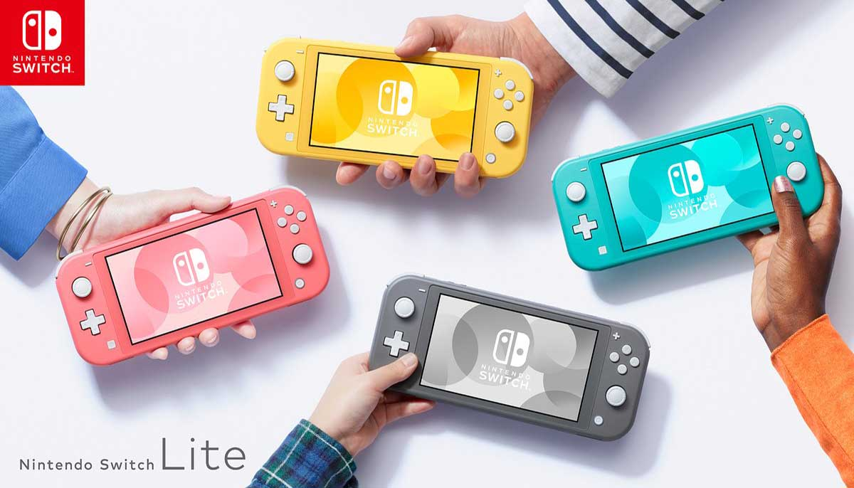 Each Switch Lite color, including the new color, Coral
